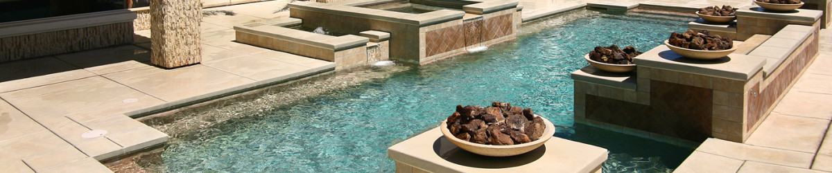 Beautiful Pool and Spa with fire pits