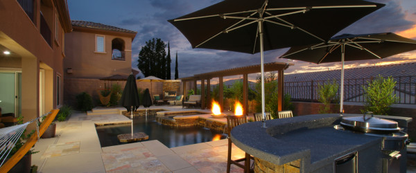 Custom Pool & Spa by 360 Exteriors with BBQ Island