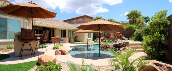Natural Gold Granite Boulders pool accents