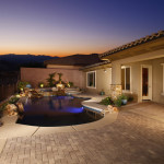Custom Swimming Pool with Spa, Fire Pit, and Stone Accents - 360 Exteriors Pools